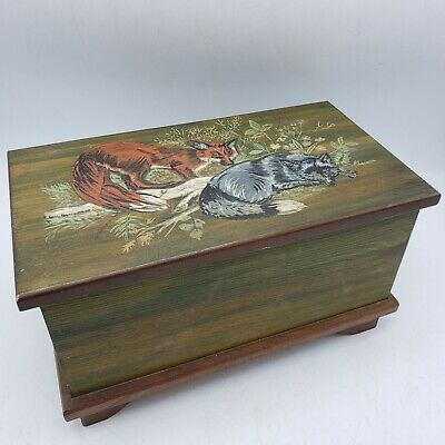 Decorative Sally Tygh Handpainted Hinged Box of Foxes Hunting Equestrian ~ 12""
