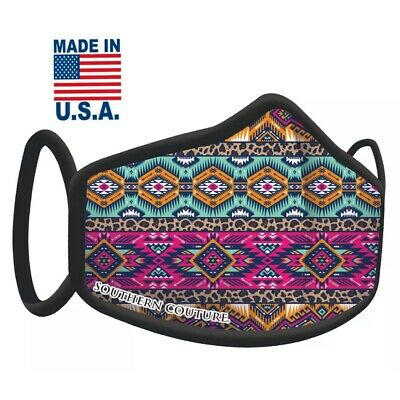 Face Nose Mask Unisex Washable Reusable Soft Double Layer Padded-Leopard Aztec