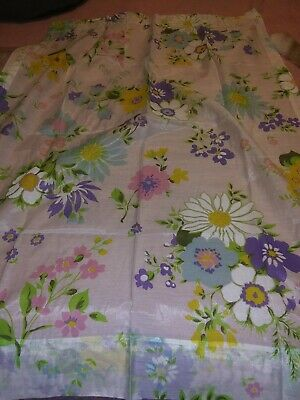 """Vintage FLORAL Sheer  Curtains ONE PAIR EACH PANEL IS 28 """" W 36"""" L"""