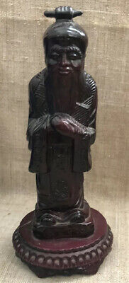 Chinese Wise Man Asian Figurine Statue Feng Shui Decor Vintage Wood Color Resin