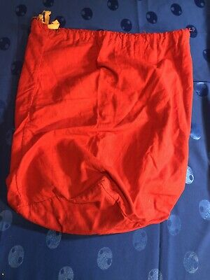 Antique Embroidered Linen Bright Red LAUNDRY BAG Vintage 1930s