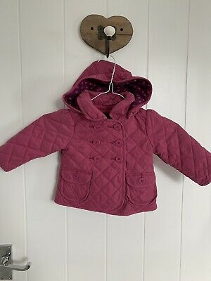 Baby Gap Baby Girls Pink Lined Barbour Style Coat Age 12-18 Months
