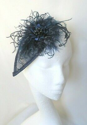 Navy Dark Blue Vintage Retro Feather Veil Fascinator Headpiece Wedding Bride