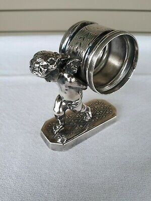 Antique Silver Plated Figural Napkin Ring Victorian Cherub Simpson Hall Miller