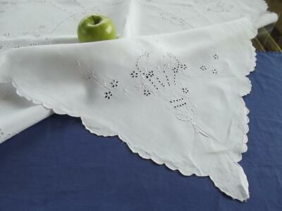 "Antique Madeira Linen 33"" Bridal Tablecloth Topper Hand Eyelet Embroidery Basket"