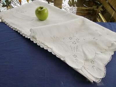 "Antique Madeira Linen 50"" Bridal Tablecloth Topper Hand Eyelet Embroidery Basket"