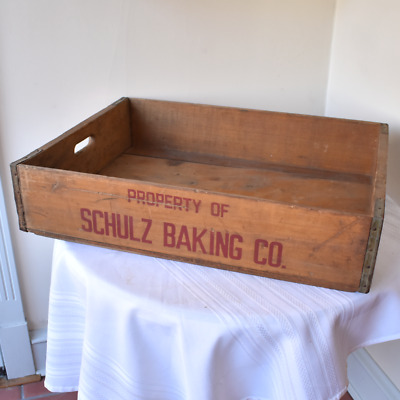 Vintage Commercial Bread Crate - Shulz Baking Bakery Advertising - Pottstown PA