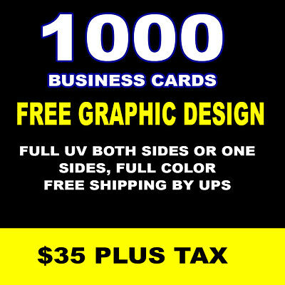 1000 Business Cards FULL UV BOTH SIDES OR ONE SIDE, FULL COLOR FREE SHIPPING