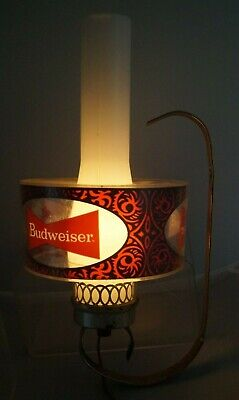 Vintage 1970s Budweiser Beer Lighted Advertising Sign Wall Sconce Hurricane Lamp