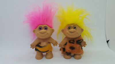 "Lot of 2 Vintage 4"" Caveman Troll Dolls Faux Fur Outfits"