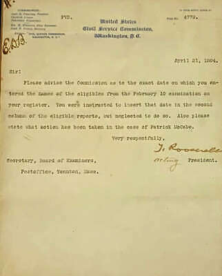 Theodore Roosevelt Signed 8x11 Typed 1894 Letter JSA