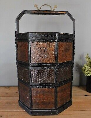 Vintage Chinese 3 Tier Lacquered Basket with Dragon Handle