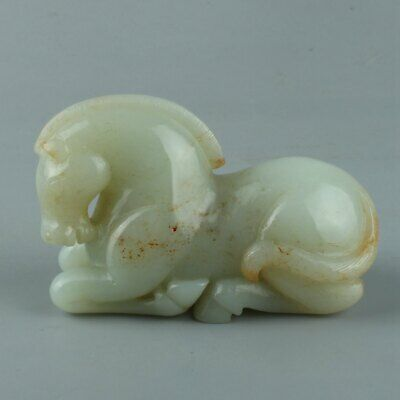 Chinese Exquisite Hand carved horse carving Hetian jade statue