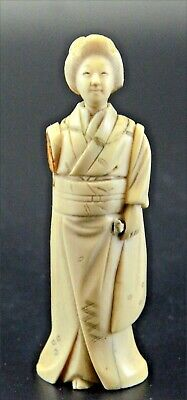 Authentic Vtg Chinese Hand Carved IVORY Colors Sculpture Figurine,Woman .Geisha