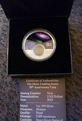 2019 Niue 1 oz Silver 50th Anniversary Moon Landing .999 silver Proof Coin OGP