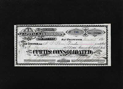 The Curtis Consolidated Mining Co. stock certificate issued 1880