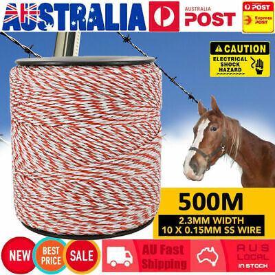Polywire 500M Roll Electric Fence Energiser Stainless Poly Wire Insulator Rope