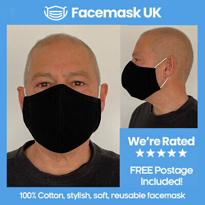 Face Mouth Mask - Protective Three Layer Tech. Waterproof 100% Soft Cotton BLACK