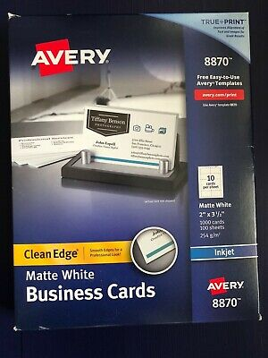 """Avery 8870 White Matte Clean Edge Business Cards 2"""" x 3.5"""" 1000 Count Free Ship"""