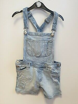 Girls H&M Faded Blue Distressed Stretch Denim Dungaree Shorts Age 12-13 W26-28