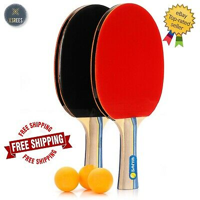 2 Player Table Tennis Ping Pong Set Includes 3 Balls Two Padded Bats Game New Uk