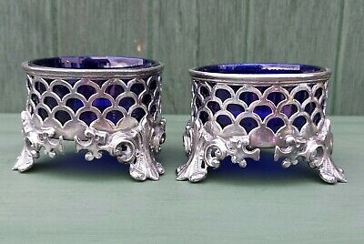 Victorian/ Edwardian Silver Plated Pewter Master Salts Orig. Cobalt Blue Linners