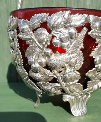 Victorian Silver Plated Brides Basket Birds Cherries Ruby Cranberry Glass