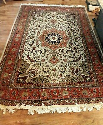 Authentic Vintage Persian Rug Hand Knotted Woven Area 6.5' x 10'