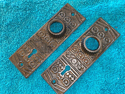2 Antique Victorian Cast Iron Door Plates / Escutcheons