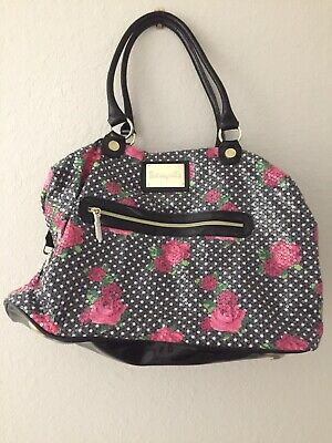 """Betsey Johnson SequinCovered Roses Duffle Luggage Weekender Bag 22""""L X 14""""H X10"""""""