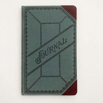 """Vintage Journal Ledger Green Grey cloth Hardcover 12"""" X 7"""" Numbered pages"""