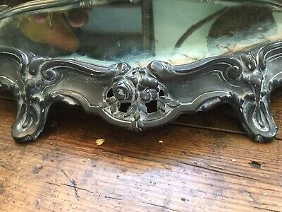 Antique Victorian Art Nouveau French Footed Mirrored Plateau Vanity Tray w Roses