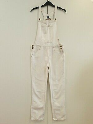 Girls Gap White Slim Tapered Overall Dungarees Uk Xxl Age 15-16 W28 L26