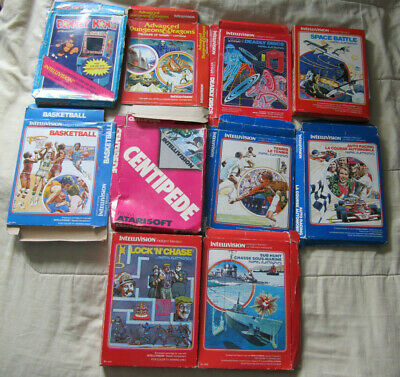 Lot of 10 Intellivision Game Boxes ONLY No Carts Donkey Kong Centipede Sub Hunt