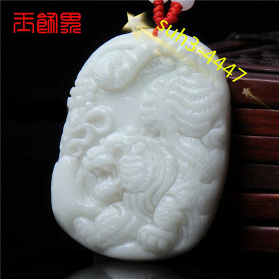Jade Tiger Pendant Chinese Natural White Necklace Charm Jewelry Fashion Amulet