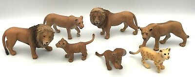 Schleich Lot 7 Figures LION PRIDE FAMILY Male, Lioness & 3 Cubs Wildlife Animals