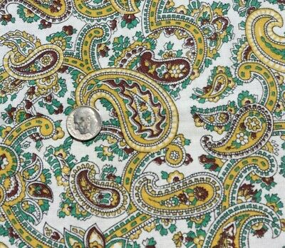 "Vintage Yellow-Green Paisley Cotton Feedsack Fabric~L-17"" X W-19"""