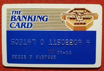 The Banking Card Valley National Bank  Arizona exp 1994 ♡Free Shipping♡cc816♡