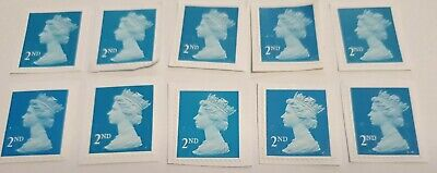 10 X 2nd Class Unfranked Stamps on paper. Trimmed, fast post. All security blue