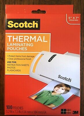 """Scotch Thermal Laminating Pouches 5"""" X 7"""" 100 Pack TP5903-100"""