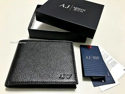 Brand New Mens Designer Armani Jeans Wallet Bifold Gift Boxed 4Slots Coin Pkt