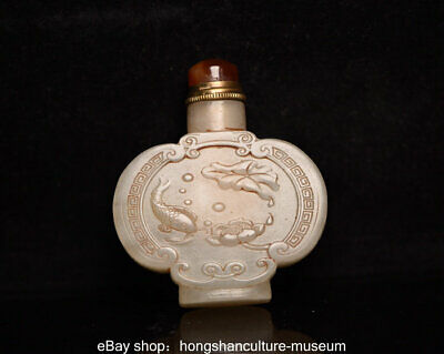 "2.8"" Chinese Old Hetian Jade nephrite Dynasty Carved Fish Lotus Snuff Bottle"