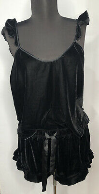 Victoria Secret Pajama Set Tank Top & Sleep Shorts Medium Black Velvet Lingerie