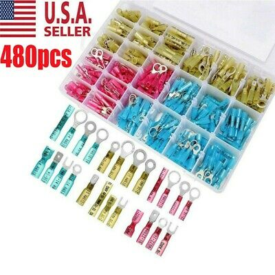 480pc HEAT SHRINK WIRE CONNECTOR ASSORTMENT AUTOMOTIVE MARINE KIT USA SELLER