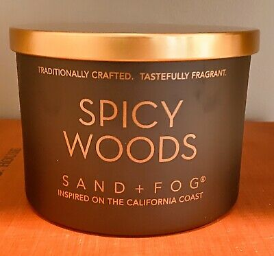 Fog Teakwood Matte Candle with Carved Wood Lid Sand 12 oz. 2-Wick