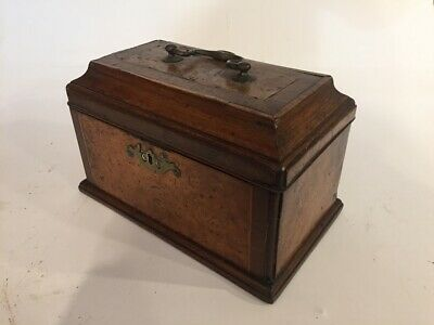 Georgian burr yew wood tea caddy