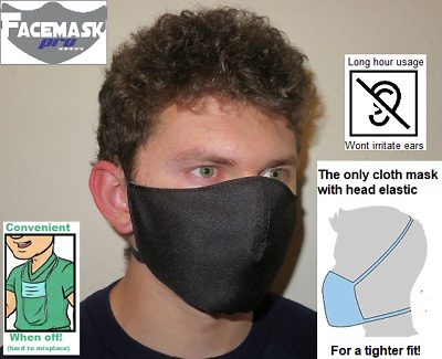 Face Cover Facemask  Reusable Face Mask Washable Dual Elastic Band Black