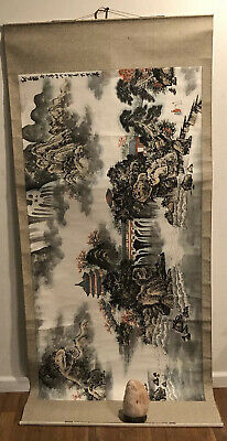 Asian Scroll - Gorgeous Painting Of Village Scene— Incredible Detail- Waterfall