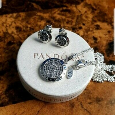 Authentic pandora signature big pendant necklace earrings  set with  box