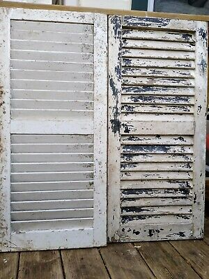 """VTG Pair Old Shutters Wooden Painted White Chippy No Rot  35"""" long x 16""""wide"""